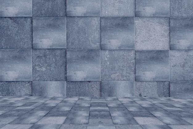 Puste betonowe ściany i podłoga. w świetle w nocy. tło miejskie.