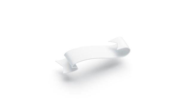 Puste białe banderole wirować na białym tle, widok z boku, renderowania 3d. pusty retro bannerol