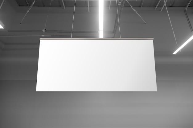 Puste białe banery w supermarkecie wiszące z sufitu. wieszaki makieta gotowe do brandingu lub reklamy