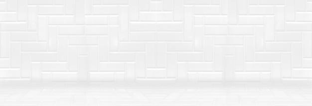 Puste białe czyste płytki ceramiczne na tle ściany i podłogi, minimalistyczny prosty styl tło wnetrze