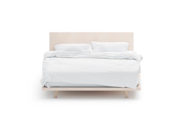 Puste białe łóżko, widok z przodu, na białym tle, renderowania 3d.