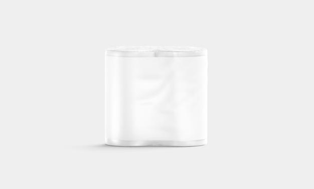 Puste białe opakowanie ręczników papierowych z etykietą, widok z przodu