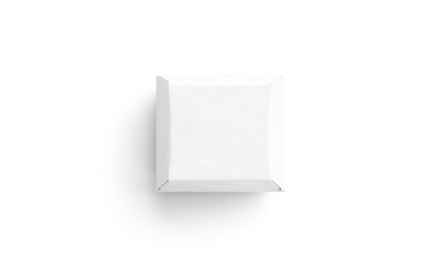 Puste białe pudełko kartonowe z burgerami makieta na białym tle widok z góry pusta makieta pojemnika kartonowego