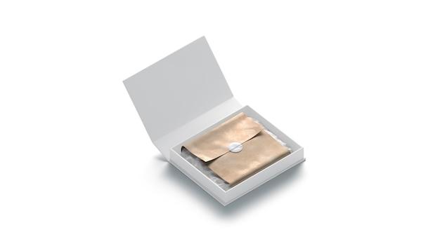 Puste białe pudełko z prezentem z naklejką na białym tle