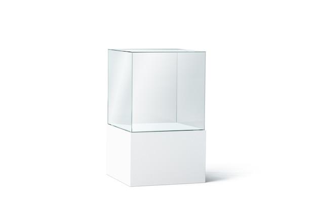Puste białe pudełko ze szkła podium, na białym tle, renderowania 3d. pusta przezroczysta prezentacja, widok z boku. przezroczysta kostka wystawiennicza do muzeum lub sklepu. gablota z akrylu w kształcie kostki na targi.