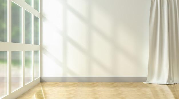 Puste białe tło ściany ze światłem słonecznym i cieniem