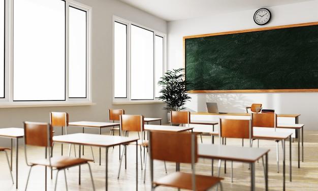 Puste białe tło w klasie z zielona tablica stół i siedzenie na drewnianej podłodze. edukacja i powrót do koncepcji szkoły. architektura wnętrz. motyw dystansu społecznego. renderowanie ilustracji 3d
