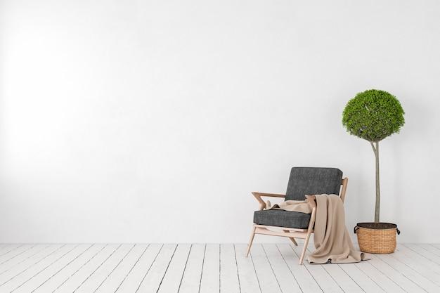 Puste białe wnętrze, pusta ściana z fotelem, drzewo roślinne. makieta ilustracji renderowania 3d.