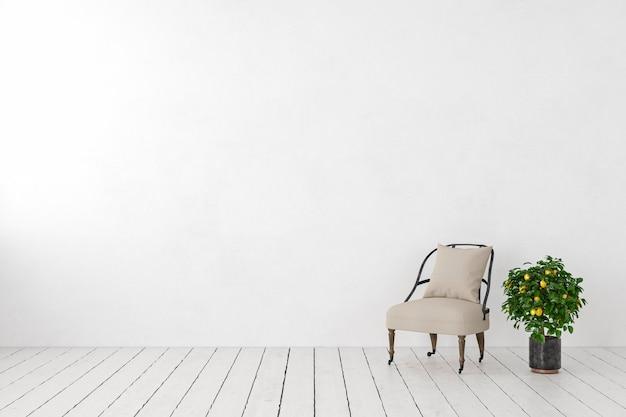 Puste białe wnętrze, pusta ściana z fotelem wypoczynkowym, roślinne drzewo cytrynowe. makieta ilustracji renderowania 3d.