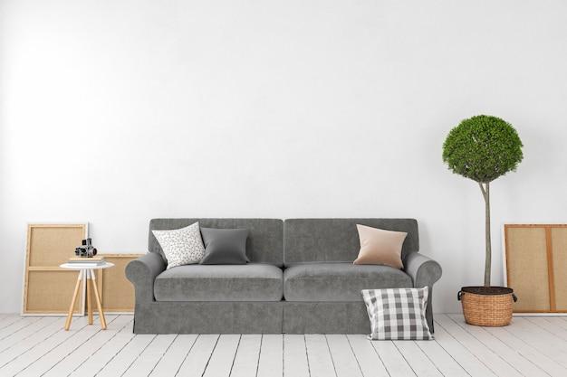 Puste białe wnętrze, pusta ściana z sofą, rośliną, drzewem, poduszkami. makieta ilustracji renderowania 3d