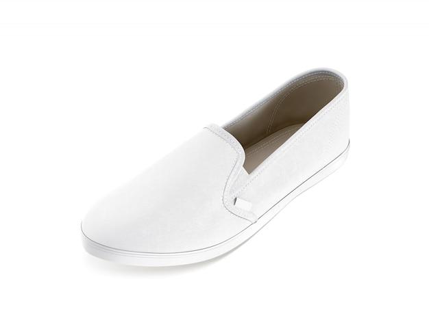 Puste białe wsuwane makieta projektu buta, na białym tle