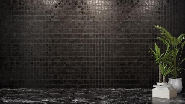 Puste ciemne płytki ścienne na marmurowej podłodze pustego pokoju w nowoczesnym domu z roślinami