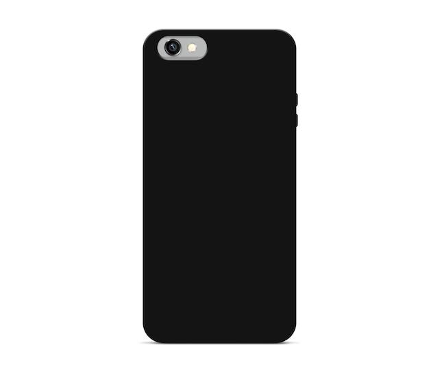 Puste czarne etui na telefon makiety stoją na białym tle