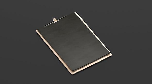 Puste czarne menu kawiarni, makieta drewnianej deski, format a4, widok z boku