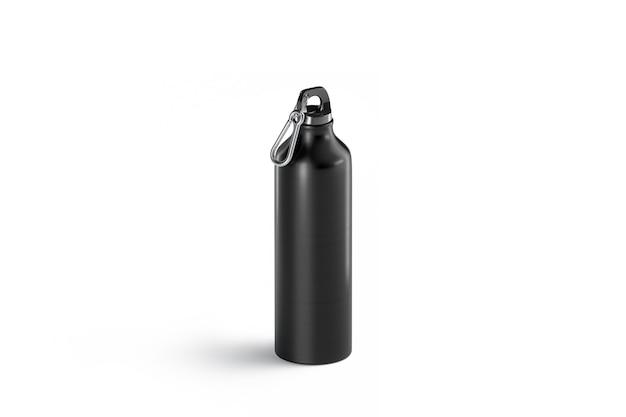 Puste czarne metalowe butelki sportowe makiety, na białym tle, widok z boku