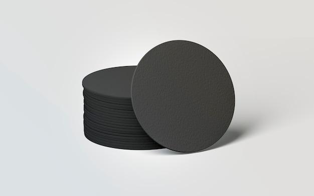 Puste czarne okrągłe podstawki do piwa stos