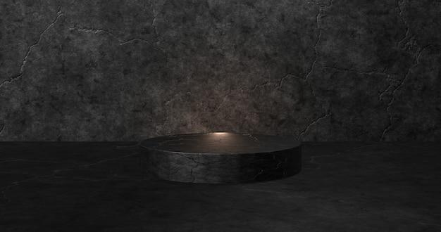 Puste czarne podium do wyświetlania produktu. renderowanie 3d.