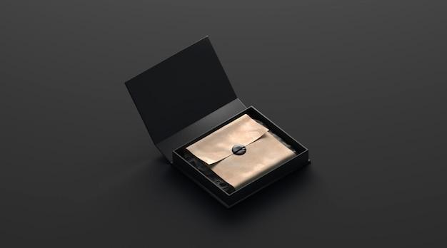 Puste czarne pudełko z prezentem z naklejką na białym tle