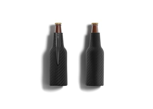 Puste czarne składane koozie butelki piwa leżące, przód i tył, renderowanie 3d.