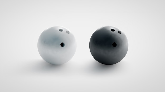 Puste czarno-białe makiety kule do kręgli