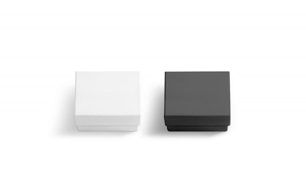 Puste, czarno-białe pudełko z pokrywką