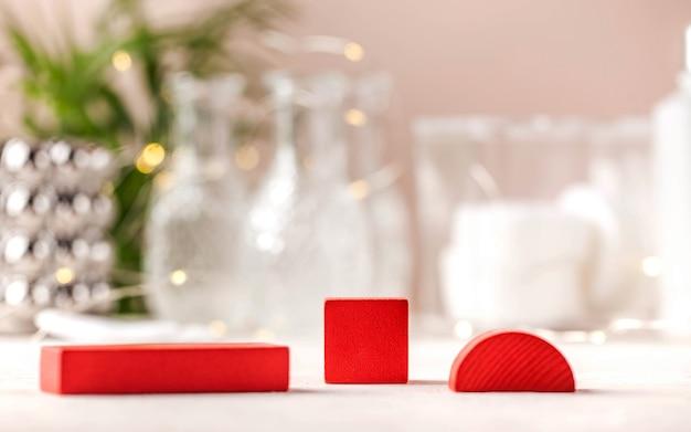 Puste drewniane podium abstrakcyjne formy geometryczne do prezentacji produktów