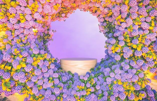 Puste drewniane podium tło z tłem kwiat hortensji.