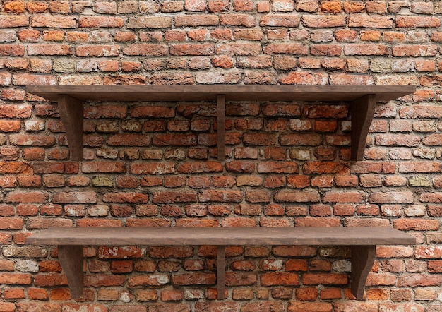 Puste drewniane półki z czerwonej cegły, wyświetlacz makieta blatu na białym tle.
