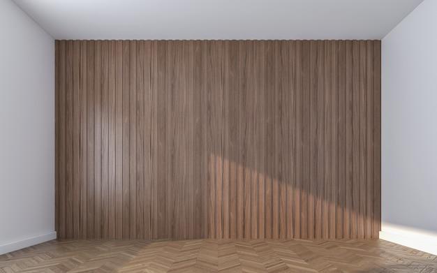 Puste drewniane ściany na drewnianej podłodze. renderowanie 3d