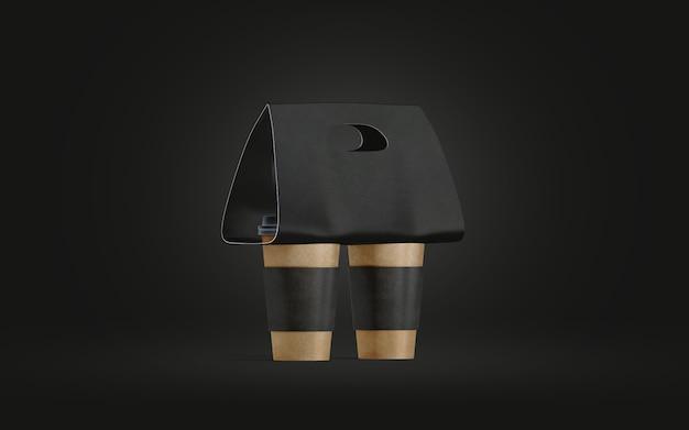 Puste dwa uchwyty na czarne kubki do kawy