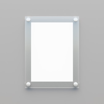 Puste jasne tablice akrylowe z białym papierem na szarym tle. ilustracja renderowania 3d