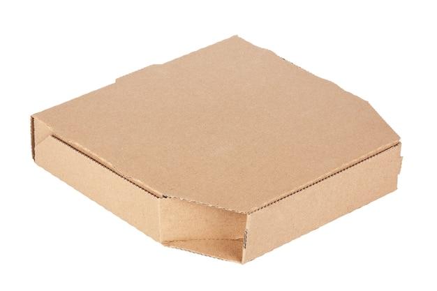 Puste kartonowe pudełko na pizzę z miejscem na kopię dla twojego projektu na białym tle