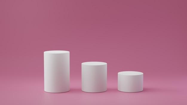 Puste kroki cylindra na pastelowym różowym tle. renderowanie 3d.