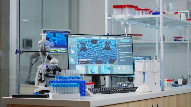 Puste laboratorium, nowocześnie wyposażone, w którym nikogo nie ma, przygotowane na innowację farmaceutyczną przy użyciu zaawansowanych technologicznie i mikrobiologicznych narzędzi do badań naukowych. rozwój szczepionki przeciwko wirusowi covid19.