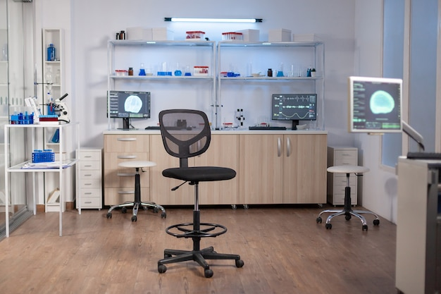Puste laboratorium, nowocześnie wyposażone, w którym nikogo nie ma, przygotowane na innowacje neurologiczne z wykorzystaniem zaawansowanych technologicznie i mikrobiologicznych narzędzi do badań naukowych. klinika medyczna do badania funkcji mózgu.