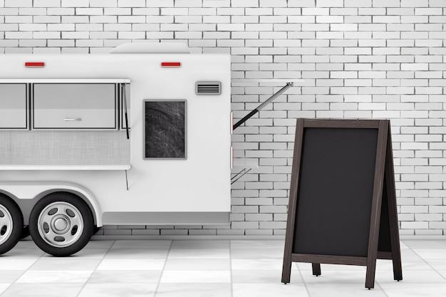 Puste menu drewniane tablica odkryty wyświetlacz w pobliżu przyczepy kempingowej airstream food truck przed murem. renderowanie 3d