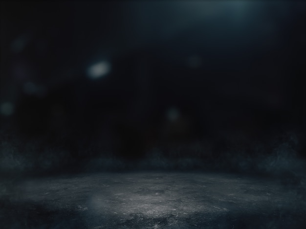 Puste miejsce na pokaz produktów w ciemnym pokoju z jasną plamą na tle.