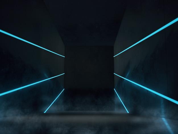 Puste miejsce na produkty wyświetlane w ciemnym pokoju z oświetleniem led.