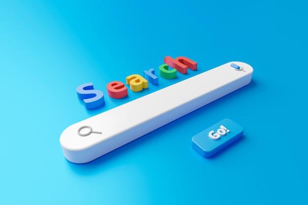 Puste minimalne pole paska wyszukiwania na tle interfejsu witryny z przyciskiem wyszukiwania lub znajdowania.