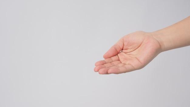 Puste mycie rąk lub błagać na białym tle.