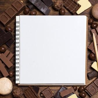Puste notatnik na czekoladę