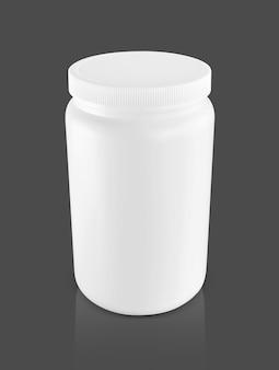 Puste opakowanie białe plastikowe butelki do projektowania produktu z odżywką białkową serwatkową
