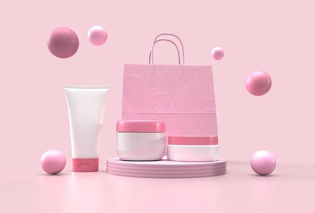 Puste opakowanie kosmetyczne z tubką, butelką, torbą na zakupy i minimalnym podium na pastelowym różowym tle.