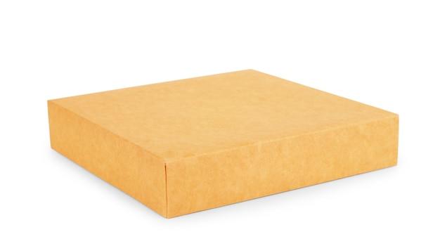 Puste papierowe pudełko na kanapki, jedzenie, prezenty lub inne produkty z plastikowym okienkiem na białym tle