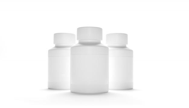 Puste plastikowe butelki do pakowania z nakrętką na tabletki na białym tle. bio suplementy lub witaminy. realistyczna plastikowa butelka. szablon. medycyna, tabletki, pigułki. renderowanie 3d