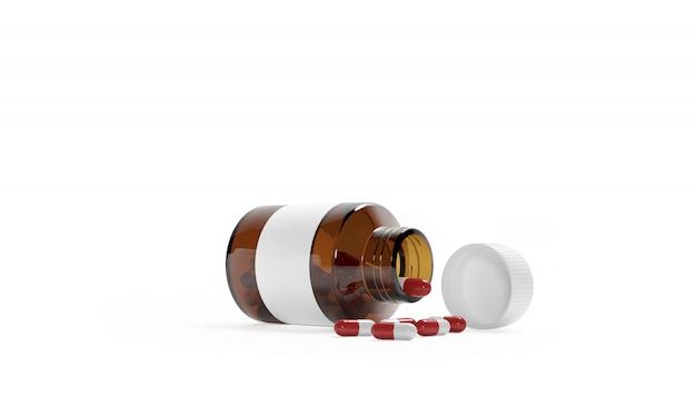 Puste plastikowe opakowanie otwórz butelkę z nakrętką na tabletki na białym tle. bio suplementy lub witaminy. realistyczna plastikowa butelka. szablon. medycyna, tabletki, pigułki. renderowanie 3d