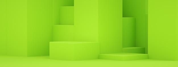 Puste podium dla produktu, zielone kształty geometryczne, renderowanie 3d, makieta panoramiczna