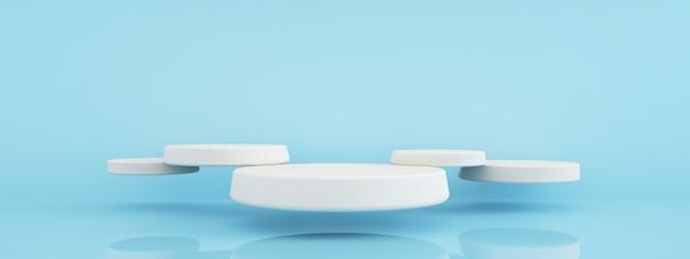 Puste podium do prezentacji produktu na niebieskim tle, renderowanie 3d, makieta panoramiczna