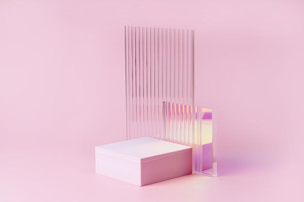 Puste podium do wyświetlania produktu. monochromatyczny cokół z prążkowanym szkłem na różowym tle