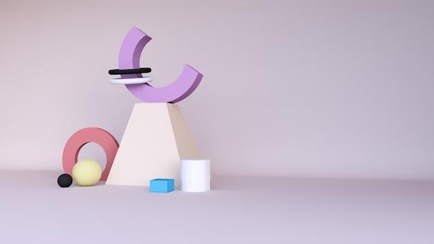Puste podium lub cokole wyświetlacz na kolorowym tle z abstrakcyjną koncepcją stoiska